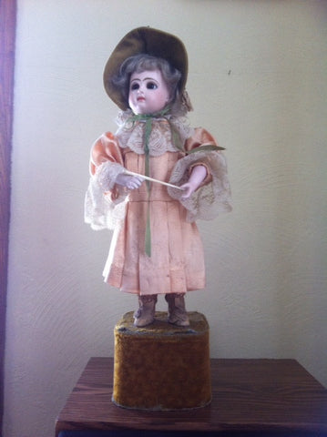 French Automaton Mechanical Doll with Baton, Model SGDG-4, manufactured by Tete Jumeau, ca. 1842, marked