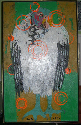 "Karl Zerbe (German/American, 1903-1972), ""King Vulture"", 1970, mixed media and paper on canvas, signed"
