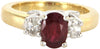 18K Gold, Ruby, and Diamond Three Stone Ring