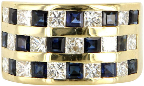 Men's 14K Gold, Diamond and Sapphire Dress Ring
