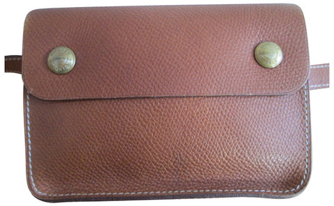 Hermes Brown Leather Waist Bag Pochette and Belt