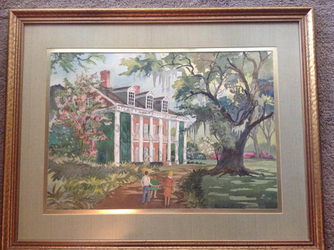 Ben Earl Looney (American, 1905-1981), Untitled (The Shadows Plantation House), watercolor on paper, matted