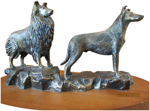 Bronze Animalier Group of Two Collies