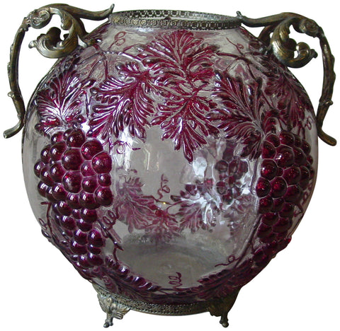 French Two-Handled Art Glass Bowl with Cranberry Overlay