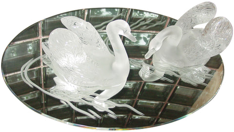 Pair of French Frosted Glass Swans on Mirrored Plateau
