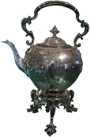 Victorian Silver Kettle on Stand