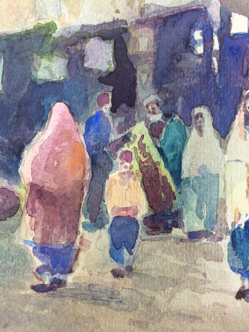 Nikolai Saraphanoff (Russian, 20th Century), Istanbul Street Scene, 1921, watercolor on paper, signed, inscribed and dated