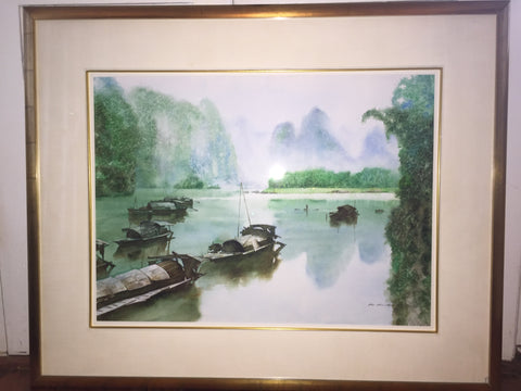 "Zhen Huan Lu (Chinese/American b. 1950), ""Li River Landscape"", ink and color on paper, signed"