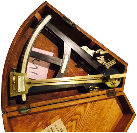 J. Hughes, London, Ebony Octant in Fitted Oak Case
