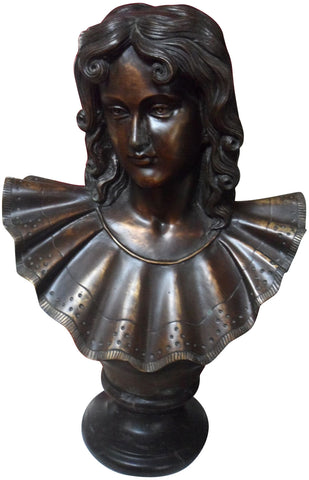 Patinated Bronze Bust of a Girl