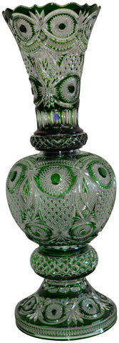 Tripartite Russian Green Cut to Clear Glass Large Vase