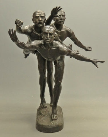 "After Alfred Boucher (French, 1850-1934), ""Au But"" (The Runners), patinated bronze reproduction, 20th century"