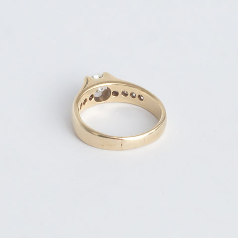 14K Yellow Gold and European Cut Diamond Ring, 20th century