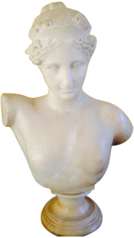 Carved White Marble Portrait Bust of A Classical Female