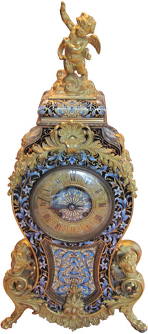 French Champlevé and Ormolu Figural Mantle Clock