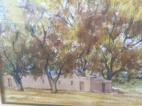 Agnes Gabrielle Tait (American, 1894-1981), Adobe House Amongst Trees, watercolor on paper, signed