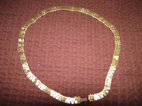 14K Yellow Gold Hexagonal Link Necklace, 20th century