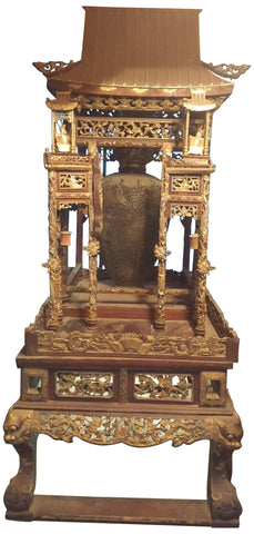 Chinese Gilt and Red Lacquered Wood Shrine