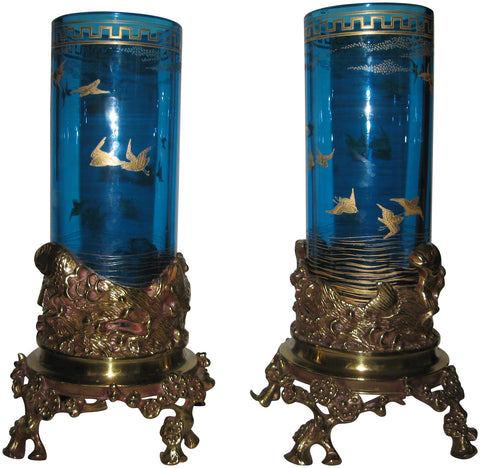Pair of Baccarat Bronze and Glass Aesthetic Movement Vases