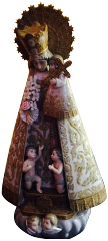 Spanish Polychrome Painted Porcelain Figure Of Holy Mary