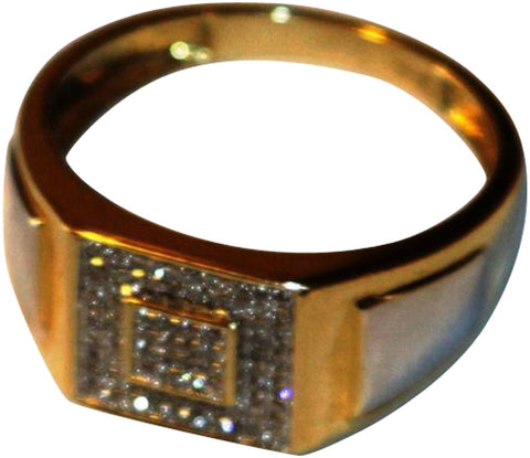 Mens 14K Yellow and White Gold and Pavé Diamond Ring