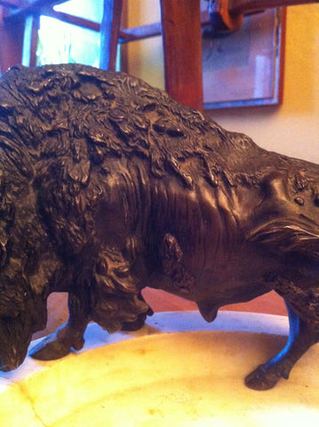 A. Titze (Austrian, 20th Century), patinated bronze figure of a buffalo, probably ca. 1920s-30s, signed