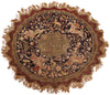 Turkish Kayseri Silk and Metal Thread Circular Pictorial Rug