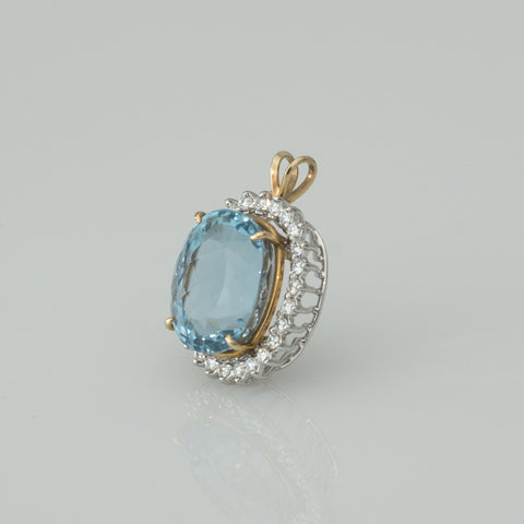 14K Yellow and White Gold, Blue Topaz and Diamond Pendant, Paul Johnson Jewelers, ca. 1984