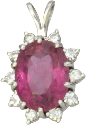 14K Gold, Pink Brazilian Tourmaline, and Diamond Pendant, ca. 1984