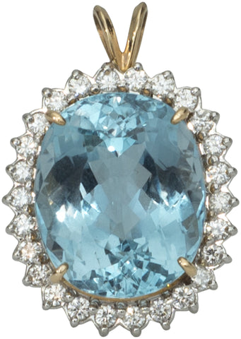 14K Yellow and White Gold Blue Topaz and Diamond Pendant