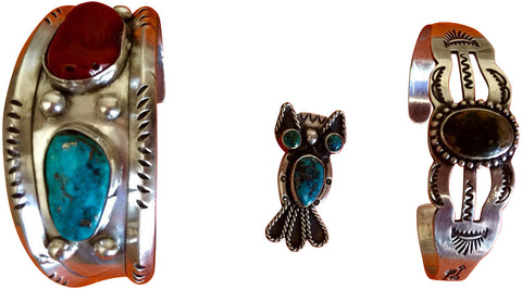 Two Native American Silver Cuff Bracelets & Owl Form Brooch