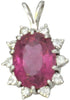 14K Gold, Pink Brazilian Tourmaline, and Diamond Pendant
