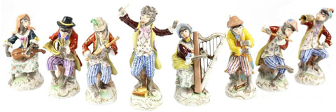 Eight Dresden Porcelain Monkey Orchestra Figurines