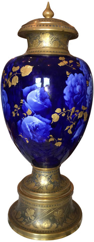 Doulton & Co. Flow Blue Lidded Urn with Gilded Mounts
