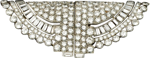 Ostertag Art Deco Platinum and Diamond Double Clip Brooch