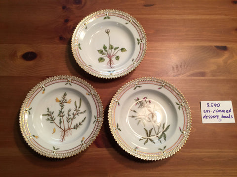 "Three Danish Porcelain ""Flora Danica"" Small Dessert Plates, Royal Copenhagen, fully marked, no. 3590, polychrome painted, 20th century"