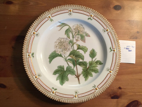 "Danish Porcelain ""Flora Danica"" Botanical Serving Plate, Royal Copenhagen, fully marked, pattern no. 20, shape no. 3523, 20th century"