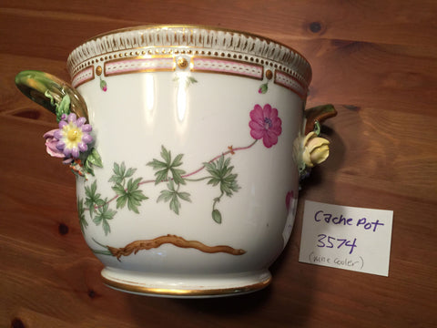 "Danish Porcelain ""Flora Danica"" Botanical Wine Cooler, Royal Copenhagen, fully marked, pattern no. 20, shape no. 3571, 20th century"