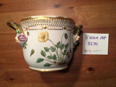 "Danish Porcelain ""Flora Danica"" Botanical Bottle Cooler, Royal Copenhagen, fully marked, pattern no. 20, shape no. 3570, 20th century"