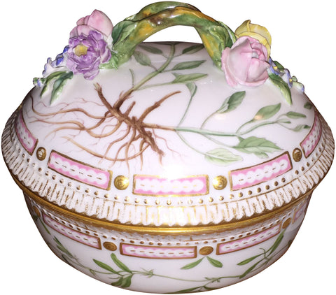 "Porcelain ""Flora Danica"" Oval Sauce Tureen with Cover"