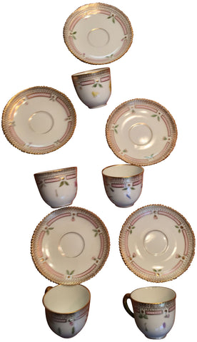"Five Porcelain ""Flora Danica"" Demitasse Cups and Saucers"