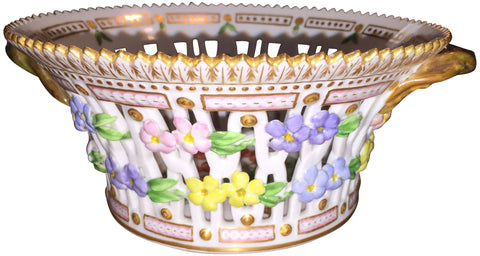 "Danish Porcelain ""Flora Danica"" Botanical Fruit Basket"