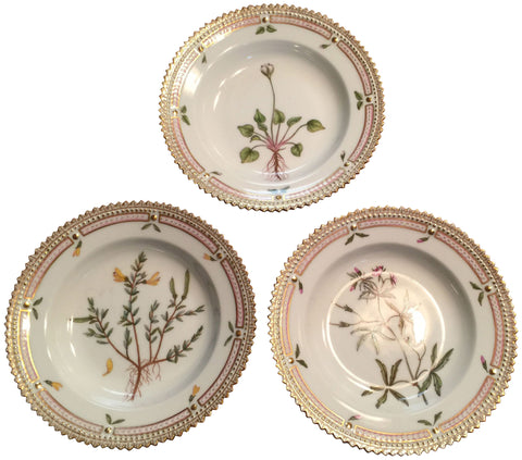 "Three ""Flora Danica"" Small Dessert Plates"