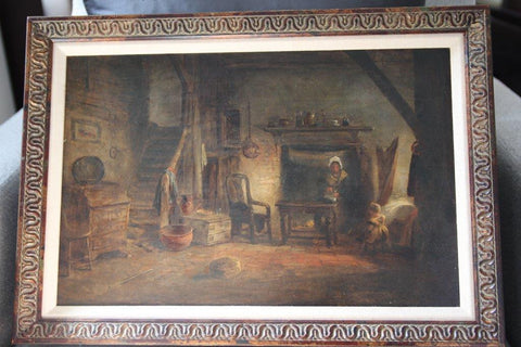 British School (19th Century), A Cottage Interior, oil on canvas, in the manner of David Wilkie (1785-1841)