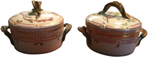 "Pair of Danish Porcelain ""Flora Danica"" Covered Butter Tubs"