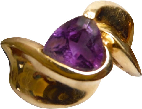 14K Yellow Gold and Trilliant Cut Amethyst Ring