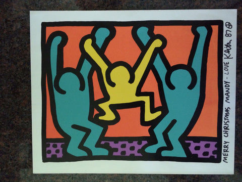Keith Haring (American, 1958-1990), One Plate: Pop Shop 1 (Christmas Card), 1987, signed and dedicated in black ink