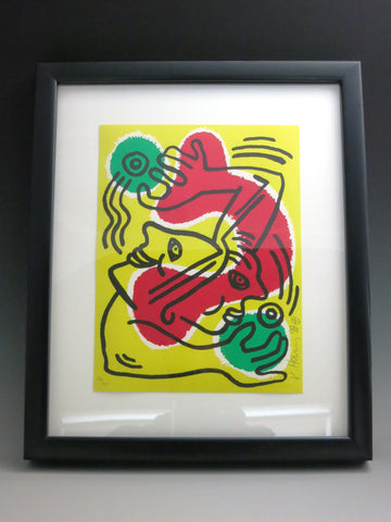 "Keith Haring (American, 1958-1990), ""International Volunteer Day"", 1988, lithograph in colors, signed, ed. 1000"