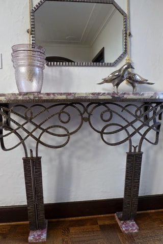 Art Deco Patinated Wrought-Iron Marble Topped Console Table,  ca. 1920s-1930s, in the style of Paul Poillerat