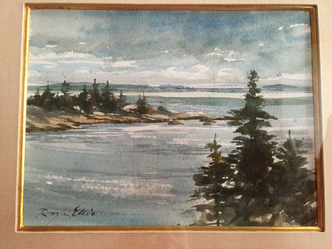 Ray G. Ellis (American, 1921-2013), Coastal Landscape, watercolor on paper, signed, 20th century